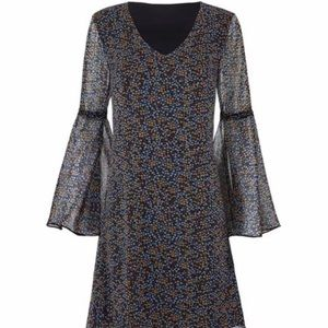 CAbi Poise Dress Style #3648 Bell Sleeve Floral M